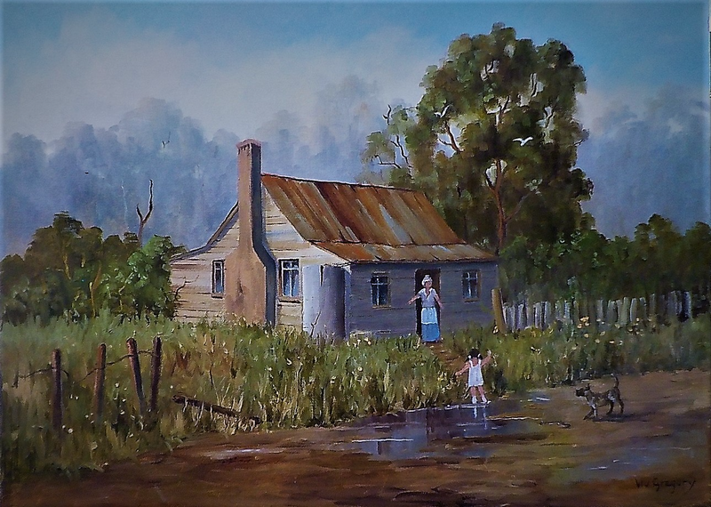 (CreativeWork) Visiting Nan by Viv Gregory. Oil Paint. Shop online at Bluethumb.