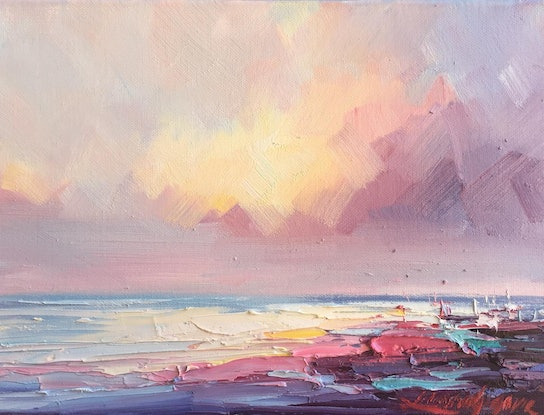 (CreativeWork) Seascape study #6 by Liliana Gigovic. Oil Paint. Shop online at Bluethumb.