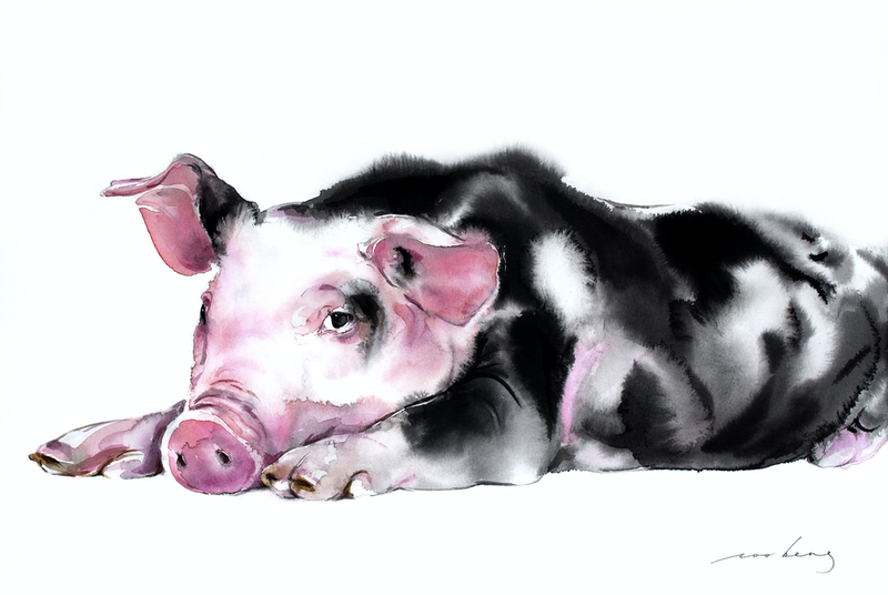 (CreativeWork) Double Prosperity Pig by Soo Beng Lim. #<Filter:0x00007fcaf2c2d8b8>. Shop online at Bluethumb.