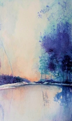 (CreativeWork) Tranquility by Lucinda Leveille. Watercolour Paint. Shop online at Bluethumb.