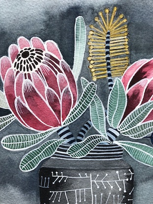 (CreativeWork) Proteas in Retro Atomic Vase by Sally Browne. Watercolour Paint. Shop online at Bluethumb.
