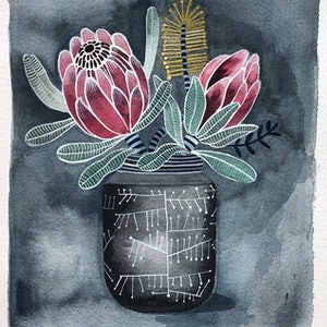 (CreativeWork) Proteas in Retro Atomic Vase by Sally Browne. watercolour. Shop online at Bluethumb.