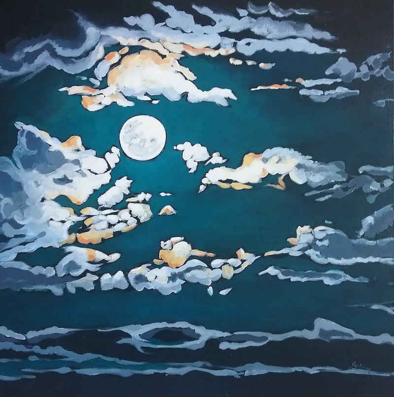 (CreativeWork) Sister Moon by Josephine Allen. Acrylic Paint. Shop online at Bluethumb.