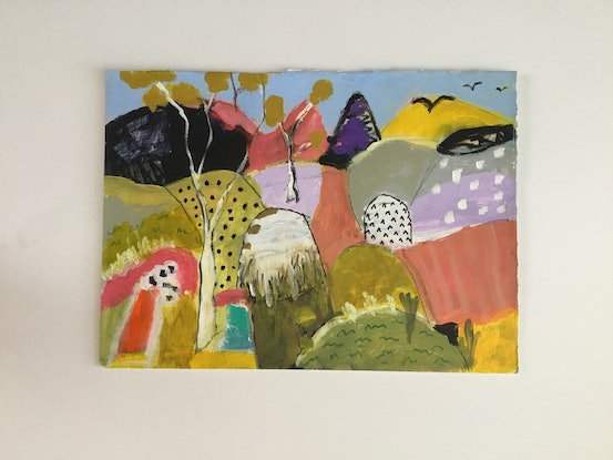 (CreativeWork) Where the crows fly by Susan Davies. Acrylic Paint. Shop online at Bluethumb.