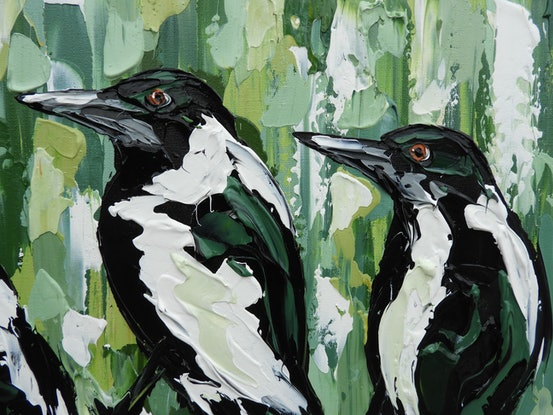 (CreativeWork) Green Nature Magpies by Lisa Fahey. Acrylic Paint. Shop online at Bluethumb.