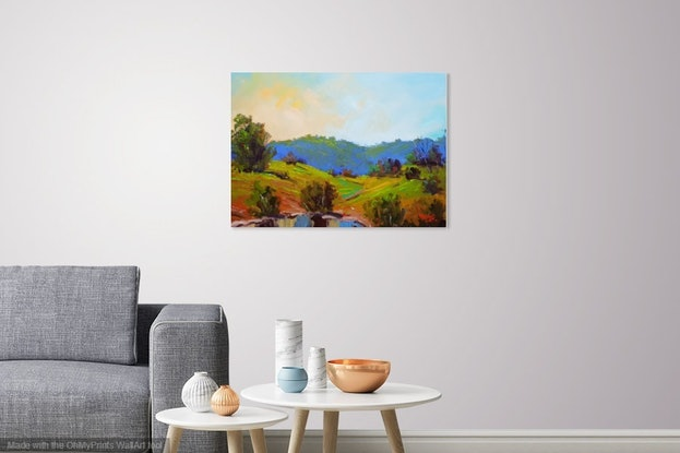 (CreativeWork) Waterhole, Back of Kenilworth by Rod Moore. Acrylic Paint. Shop online at Bluethumb.