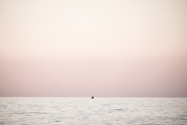 Tiny fishing boat in pink