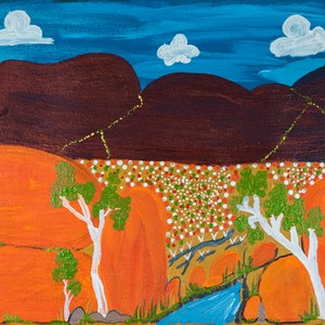 (CreativeWork) Out of the Pebbles (16-TA42) by Ruth Dawson. Acrylic Paint. Shop online at Bluethumb.