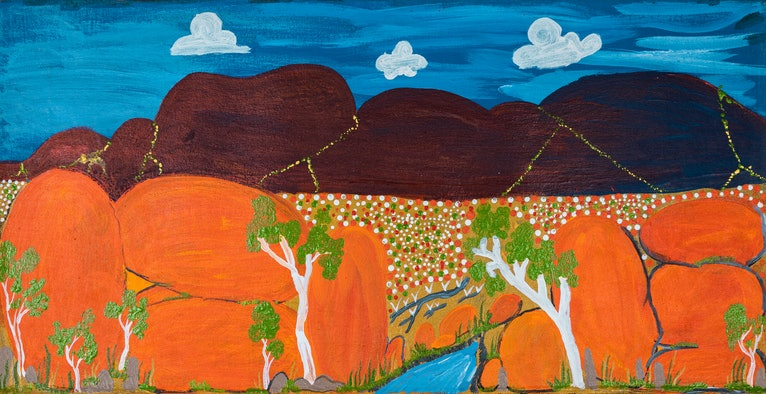 (CreativeWork) Out of the Pebbles (16-TA42) by Ruth Dawson. arcylic-painting. Shop online at Bluethumb.