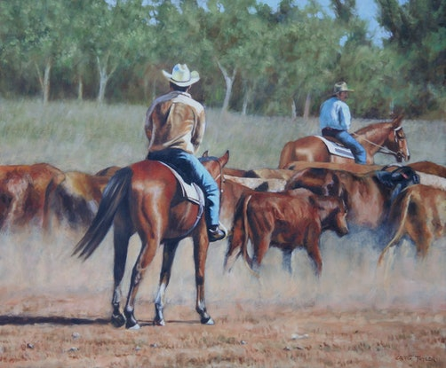 (CreativeWork) Driving The Mob by Craig Taylor. Oil Paint. Shop online at Bluethumb.