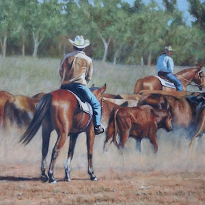 (CreativeWork) Driving The Mob by Craig Taylor. oil-painting. Shop online at Bluethumb.