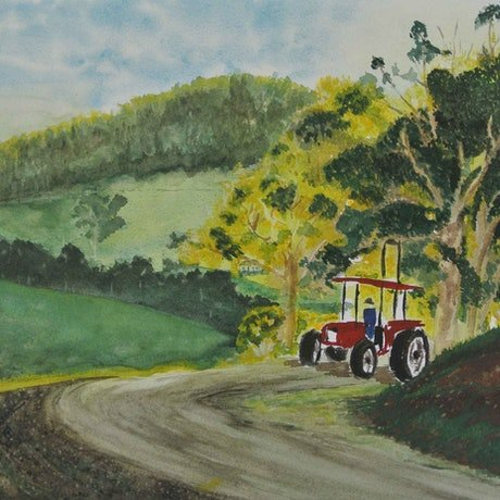 (CreativeWork) Coming Round the Bend - Tractor by Tracey Murrell. Watercolour Paint. Shop online at Bluethumb.