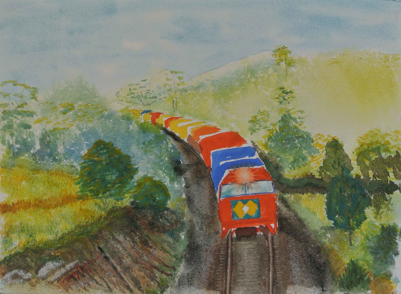 (CreativeWork) Coming Round the Bend - Train by Tracey Murrell. Watercolour Paint. Shop online at Bluethumb.