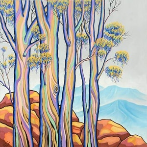 (CreativeWork) POLYCHROME EUCALYPTI 14 by Saadah Kent. arcylic-painting. Shop online at Bluethumb.