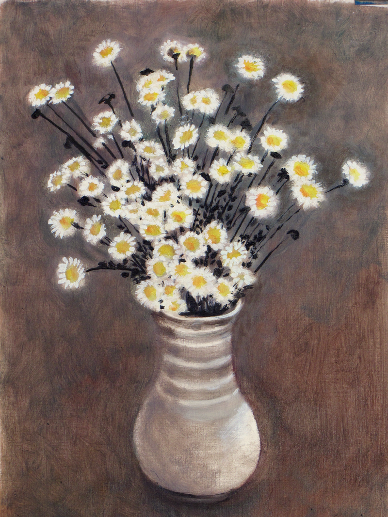 (CreativeWork) Daisies in a vase by Raymond Wittenberg. Oil Paint. Shop online at Bluethumb.
