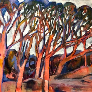 (CreativeWork) Angophora crimson by Kate Gradwell - Landscapes. arcylic-painting. Shop online at Bluethumb.