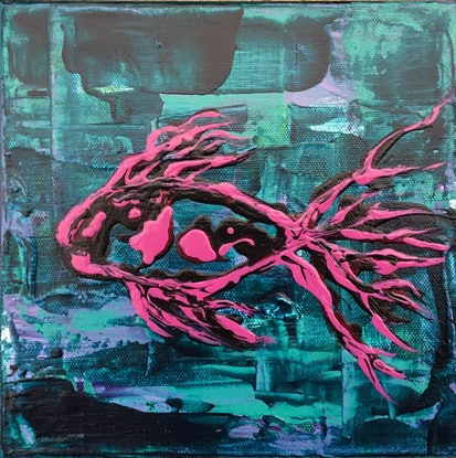 (CreativeWork) Magenta Treasure  by Donna Louise Fletcher. Acrylic Paint. Shop online at Bluethumb.
