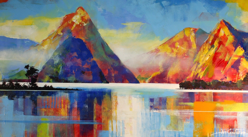 (CreativeWork) Mitre Peak NZ by Jos Coufreur. Acrylic Paint. Shop online at Bluethumb.