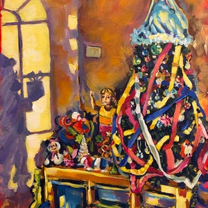 (CreativeWork) Story of one Christmas Tree by Valentyna Crane. acrylic-painting. Shop online at Bluethumb.