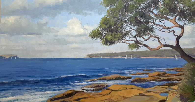 (CreativeWork) Sydney Heads From Balmoral rocks by Steven Heyen. Oil Paint. Shop online at Bluethumb.