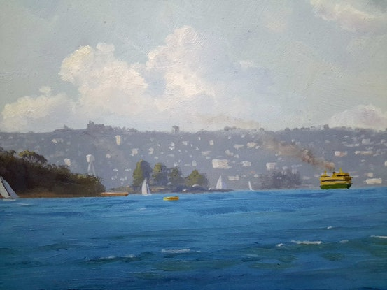 (CreativeWork) Cremorne Point looking East by Steven Heyen. Oil Paint. Shop online at Bluethumb.