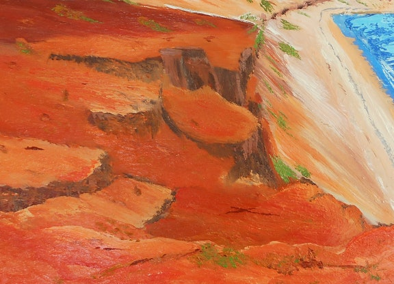 (CreativeWork) Somewhere Red by Sharon Robards. Oil Paint. Shop online at Bluethumb.