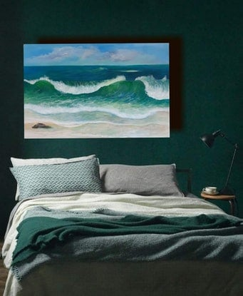 (CreativeWork) Neptune's Sea by Fiona Roxburgh. Acrylic Paint. Shop online at Bluethumb.