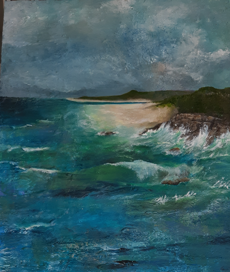 (CreativeWork) Ocean Shores by Fiona Roxburgh. Acrylic Paint. Shop online at Bluethumb.