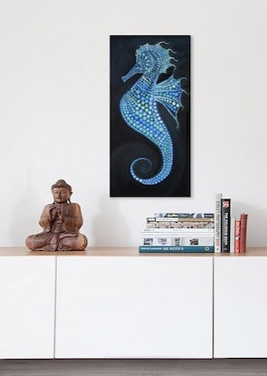 (CreativeWork) Sea Horse Dot Art by Natasha McGhie. Acrylic Paint. Shop online at Bluethumb.