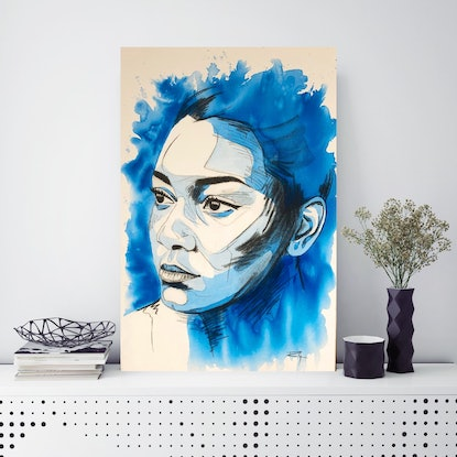 (CreativeWork) Femme Bleue 1 by Ro Geddes. Mixed Media. Shop online at Bluethumb.