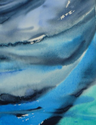 (CreativeWork) Ocean Blues from Above by Laurie Jean Cochrane. Watercolour Paint. Shop online at Bluethumb.