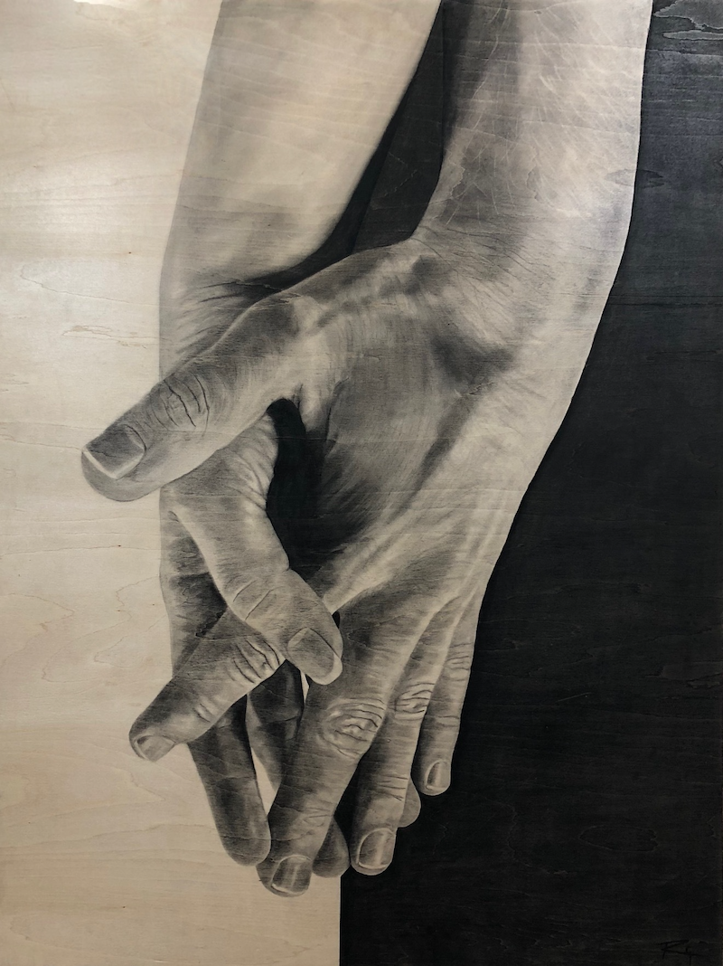 (CreativeWork) Two Hands by Ro Geddes. Drawings. Shop online at Bluethumb.