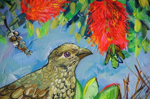 (CreativeWork) Bowerbirds by Katerina Apale. Acrylic Paint. Shop online at Bluethumb.