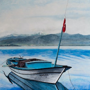 (CreativeWork) Yasar II Lake Burdur by Rodney Black. arcylic-painting. Shop online at Bluethumb.