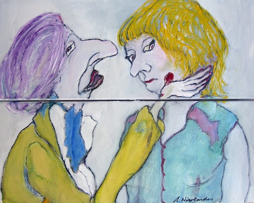 (CreativeWork) The Split Up by Sandra Nicolaides. Oil Paint. Shop online at Bluethumb.