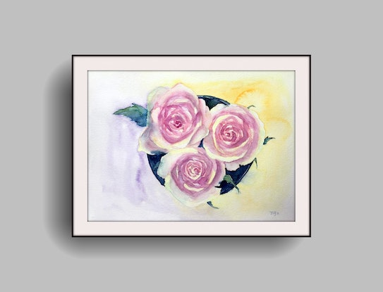 (CreativeWork) Fragrant Roses by Jing Tian. Watercolour Paint. Shop online at Bluethumb.