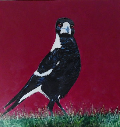 (CreativeWork) Commission - You Lookin' at Me by julie hollis. Acrylic Paint. Shop online at Bluethumb.
