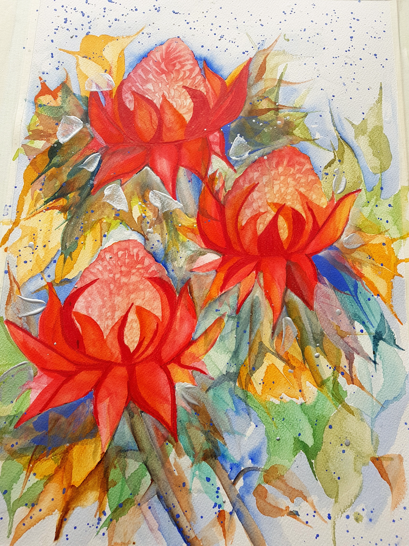 (CreativeWork) Waratahs  by Meredith Dixon. Mixed Media. Shop online at Bluethumb.