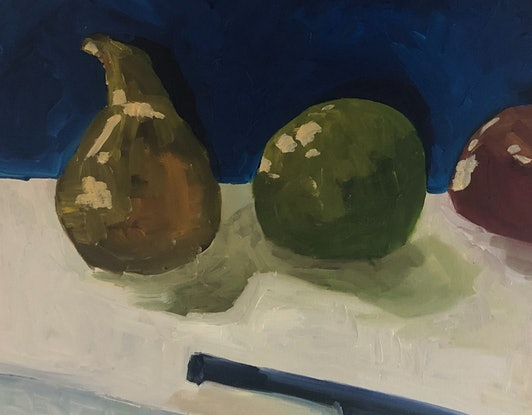 (CreativeWork) Still life fruit with knife by Sharon Monagle. Oil Paint. Shop online at Bluethumb.