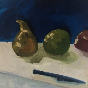 (CreativeWork) Still life fruit with knife by Sharon Monagle. oil-painting. Shop online at Bluethumb.