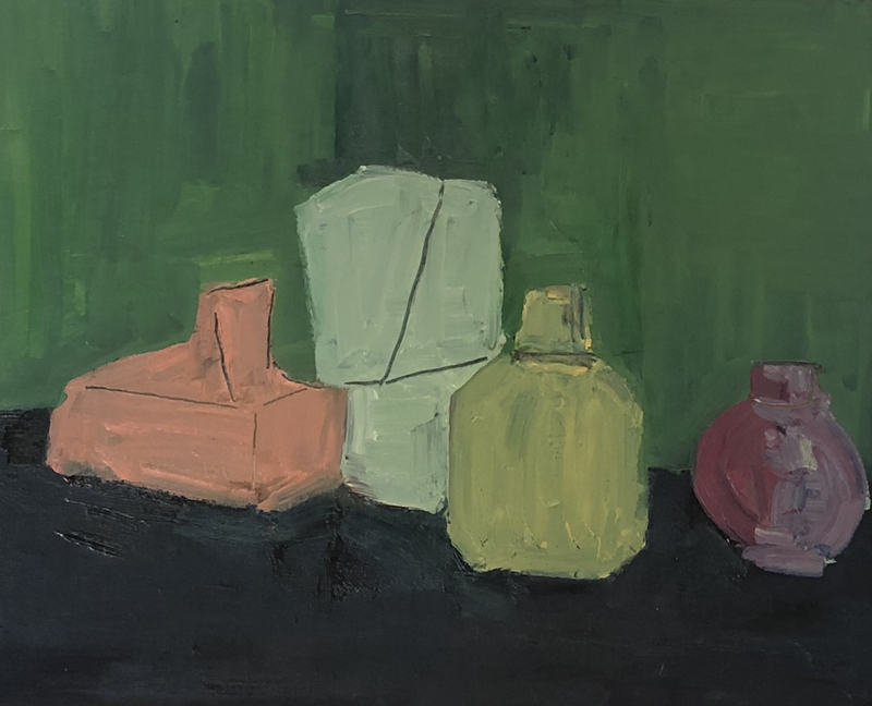 (CreativeWork) Perfume bottles by Sharon Monagle. Oil Paint. Shop online at Bluethumb.