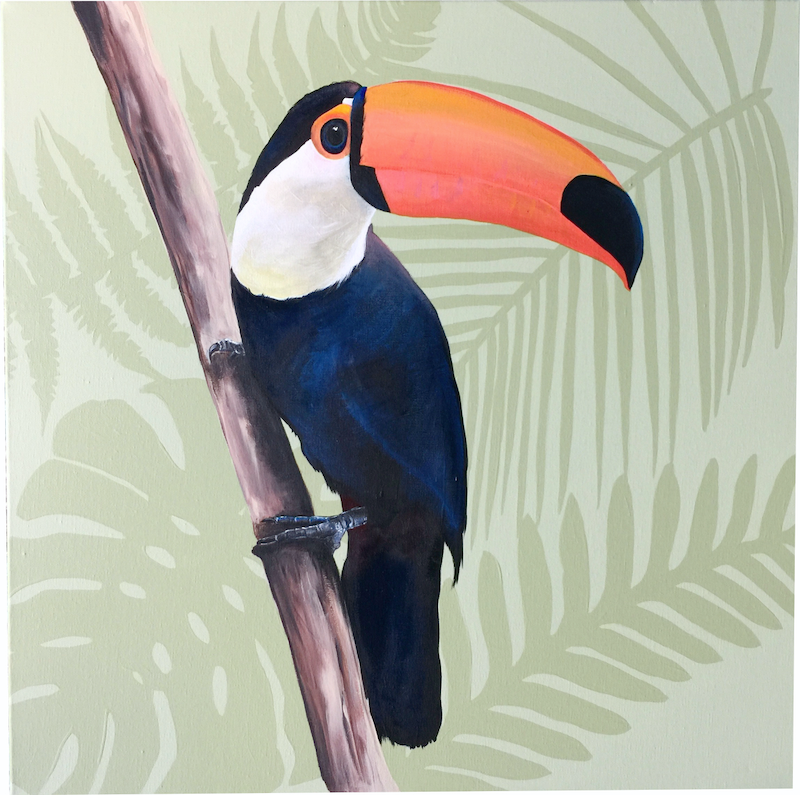 (CreativeWork) Toucan Botanical  by HEYLIE MORRIS. arcylic-painting. Shop online at Bluethumb.