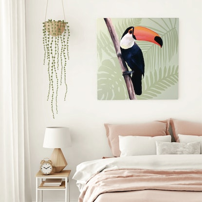 (CreativeWork) Toucan Botanical  by HEYLIE MORRIS. Acrylic Paint. Shop online at Bluethumb.