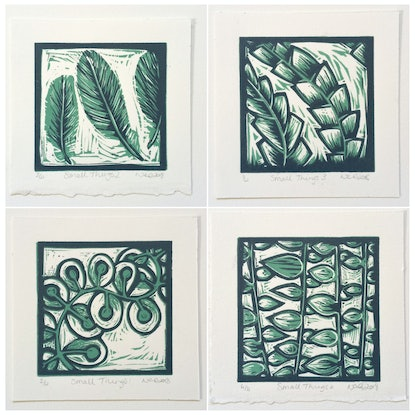 (CreativeWork) Small Things 3 : Linocut Ed. 3 of 4 by Nicola Cowie. Print. Shop online at Bluethumb.