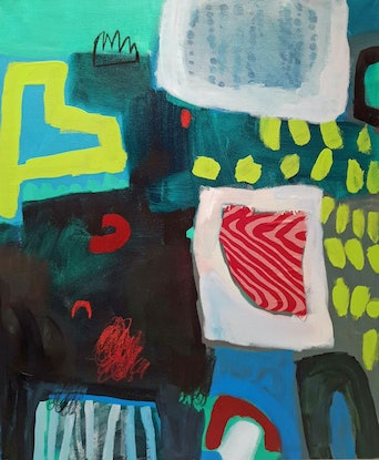 (CreativeWork) Green and Red by Elizabeth Wojciak. Acrylic Paint. Shop online at Bluethumb.