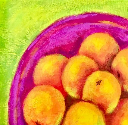 (CreativeWork) Oranges in pink bowl by Deborah Green. Acrylic Paint. Shop online at Bluethumb.