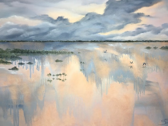 (CreativeWork) Wet Season Flight by Suzy French. Oil Paint. Shop online at Bluethumb.