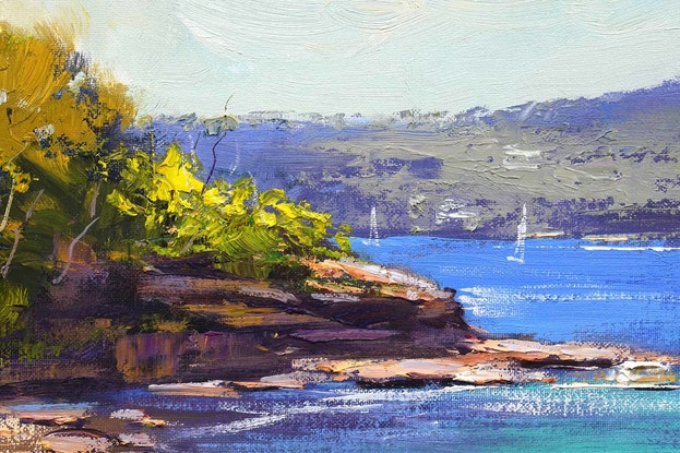 (CreativeWork) Manly Cove Sydney by Graham Gercken. Oil Paint. Shop online at Bluethumb.