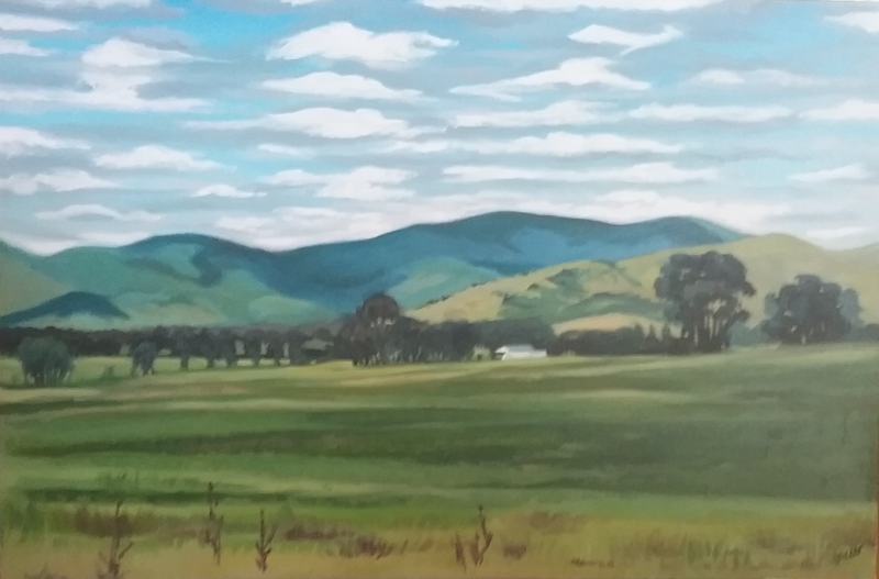 (CreativeWork) Moonambel side of Warrenmang  Hills  by Dawn Lim. Oil Paint. Shop online at Bluethumb.