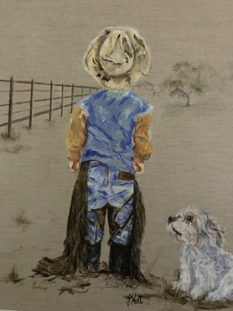 (CreativeWork) WHERE'S THE B.......   BULL GONE? by Joy Holt. Acrylic Paint. Shop online at Bluethumb.